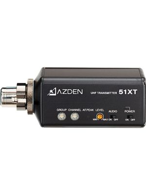 Plug in transmitter to connect with dynamic mic head or condenser mic for interviewe