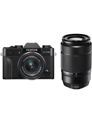 FUJIFILM X-T30 Mirrorless Digital Camera with 15-45mm and 50-230mm Lenses Kit (Black/Black)