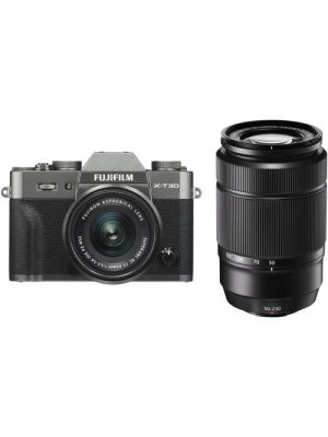 FUJIFILM X-T30 Mirrorless Digital Camera with 15-45mm and 50-230mm Lenses Kit (Charcoal Silver/Black)