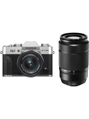 FUJIFILM X-T30 Mirrorless Digital Camera with 15-45mm and 50-230mm Lenses Kit (Silver/Black)