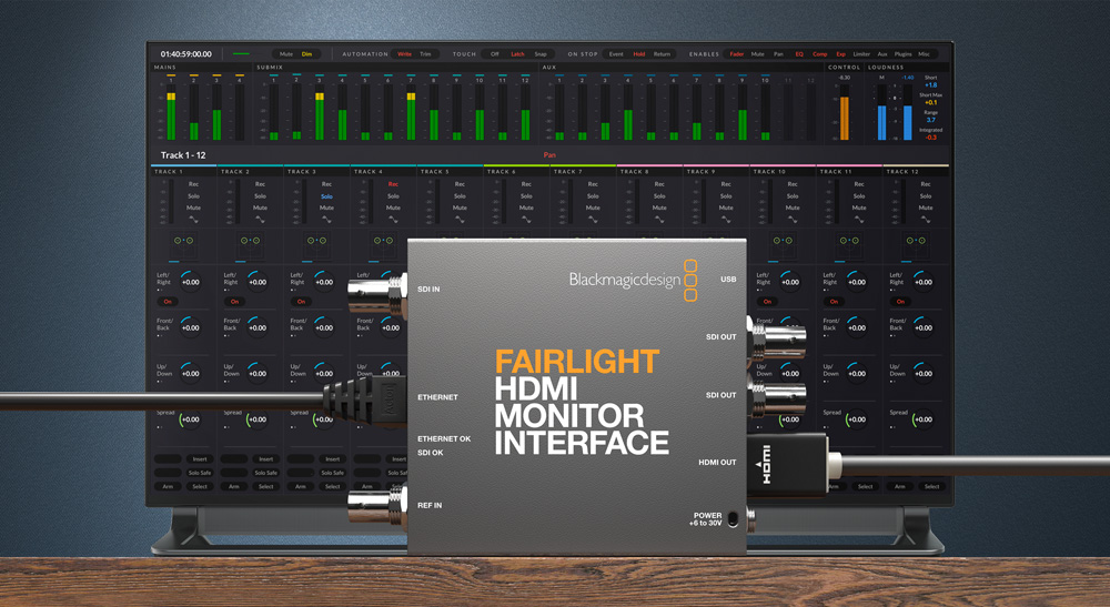 Blackmagic Design Announces New Fairlight HDMI Monitor Interface