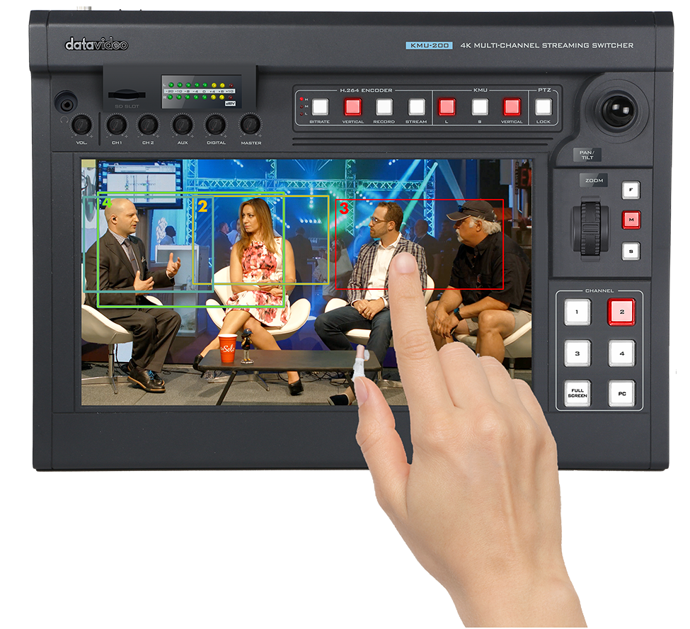 Datavideo releases KMU-200 a 4K Multi-Channel Touch Screen Switcher. Create a virtual multicamera production by using just a single 4K camera and your fingertips.